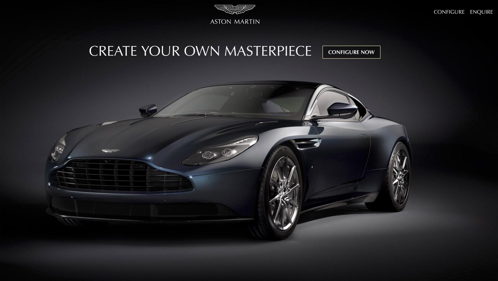 Portada del site de configuración del Aston Martin DB11