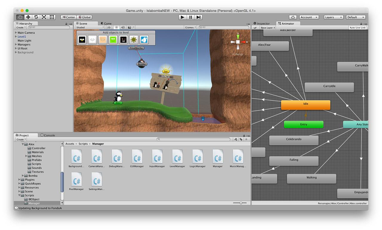 IslaBomba Unity 5 interfaz